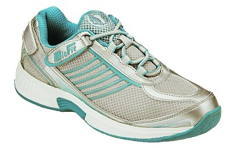910 - Women's Athletic Tie-Less Lace, White Mesh Blue Stripes